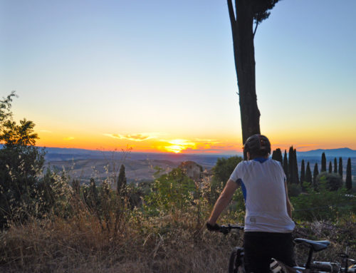 Mtb ride at sunset in the nearby of Montaione (Sanctuary of Pietrina)